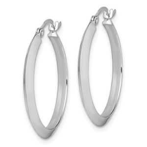 14K Polished White Gold Hoop Earrings