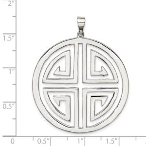 Sterling Silver Polished Circle With Design Pendant