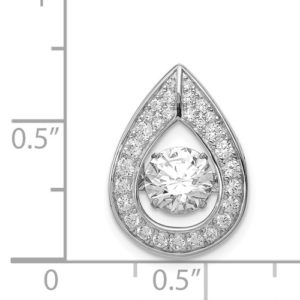 Sterling Silver Platinum-Plated Vibrant Swarovski Zircon And CZ Pendant
