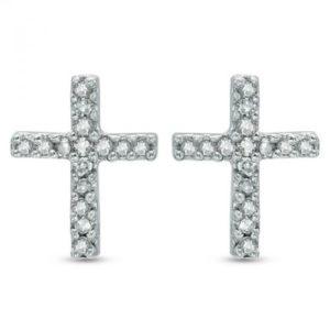 14k Diamond Cross Earring
