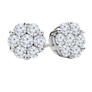14k Diamond Cluster Earring