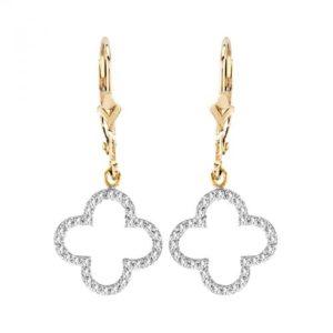 14K Diamond Clover Dangle Earrings