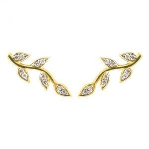 14k 0.22ctw Diamond Branch Ear Crawler Stud Earrings