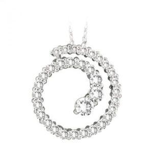14k Diamond Spiral Pendant
