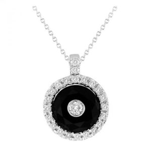 14k Onyx And Diamond Pendant