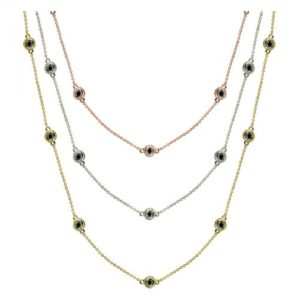 14k 1ctw Fancy Bezel Diamond By The Yard Necklace